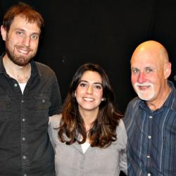 """Haroula Rose with guitarist Yoshie Fruchter and """"Sunday Supper"""" host John Platt (photo by Jeremy Rainer)"""