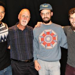 Henry Jamison (second from right), Andrew Freedman (left) and Dylan Tracy (right) with John Platt (photo by Ken Iselhart/WFUV)