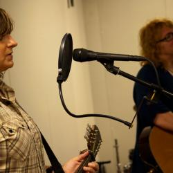 Indigo Girls in Studio A (photo by Laura Fedele/WFUV)