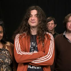 Alisa Ali with Kurt Vile and The Violators in Studio A (photo by Joanna LaPorte/WFUV)