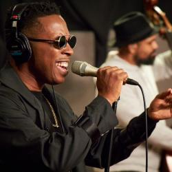 Leslie Odom Jr. in Studio A (photo by Gus Philippas/WFUV)