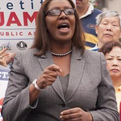 NYC Public Advocate candidate Letitia James at a rally, September 2013.
