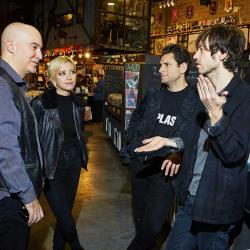 Lo Moon shopping with WFUV's Eric Holland at Rough Trade in Brooklyn. (photo by Gus Philippas)