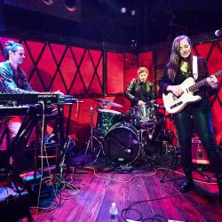 Margaret Glaspy and band at Rockwood Music Hall (photo by Gus Philippas/WFUV)