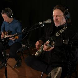 Jason Victor and Matthew Sweet (photo by Dan Tuozzoli/WFUV)