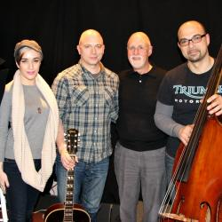 "Michael Cerveris with bandmates and ""Sunday Supper"" host John Platt (photo by Jeremy Rainer)"