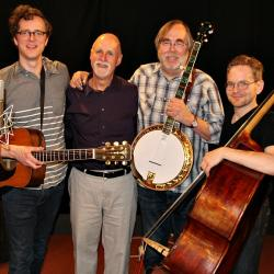 """Michael Daves and bandmates, joined by """"Sunday Supper"""" host John Platt (photo by Jeremy Rainer)"""