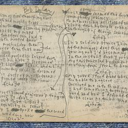 """Bob Dylan's handwritten working lyrics to """"My Back Pages."""""""