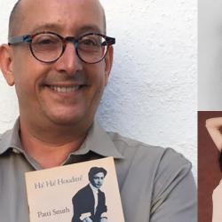 The author with a Patti Smith chapbook, a 1977 Gotham Book Mart purchase (photo courtesy of Chuck Singleton, collage by Laura Fedele)