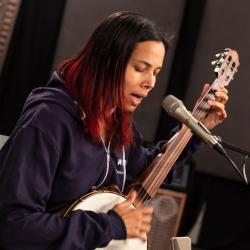 Rhiannon Giddens in Studio A (photo by Dan Tuozzoli/WFUV)