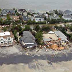 Aerial views during an Army search and rescue mission show damage from Hurricane Sandy to the New Jersey coast
