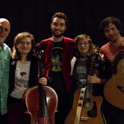 """The Accidentals' Katie Larson, Michael Dause, Savannah Buist, and Jake Allen with """"Sunday Supper"""" host John Platt (photo courtesy of WFUV)"""