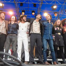 The Lone Bellow and friends (photo by Adam Kissick/NPR)