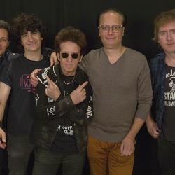"Willie Nile and bandmates with ""Cavalcade"" host Paul Cavalconte (photo by Alexandra Brennan, WFUV)"