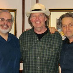 Darren DeVivo with Neil Young and Jonathan Demme (photo by Jeremy Rainer/WFUV)