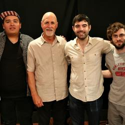 "Danny Greenberg and bandmates with ""Sunday Supper"" host John Platt (photo by Jeremy Rainer)"
