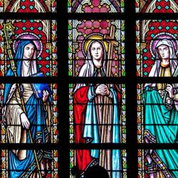 Stained glass saints (photo courtesy of Pexels)